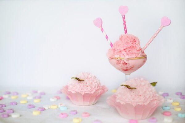 valentine's day, pink ice cream, hearts